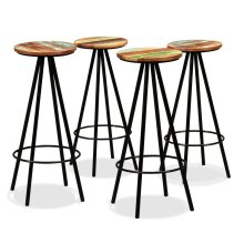 Bar Stools 4 pcs Solid Reclaimed Wood and Steel