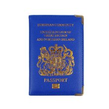 New UK Passport Holder Protector Cover Wallet PU Leather- Blue