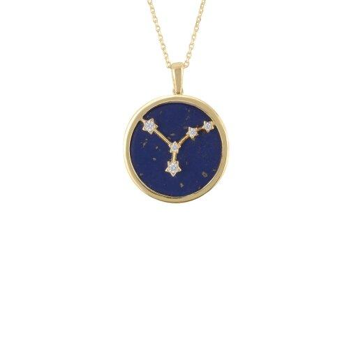 Zodiac Blue Lapis Gemstone Star Sign Pendant Necklace Gold Cancer