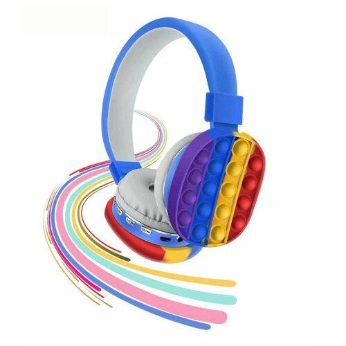 (Blue) Pop It Decompression Kids Headset Toy Fidget Wireless Headphone
