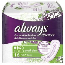 Always Discreet Sensitive Bladder Incontinence Pads Liners Small Plus Pack of 16