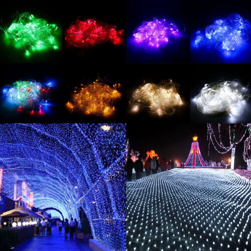 LED String Fairy Lights Net Mesh Curtain Halloween Wedding Party Home Decoration