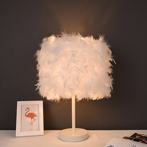 Fluffy Feather Table Lamp Bedside Bed Corded Led Light Night Light