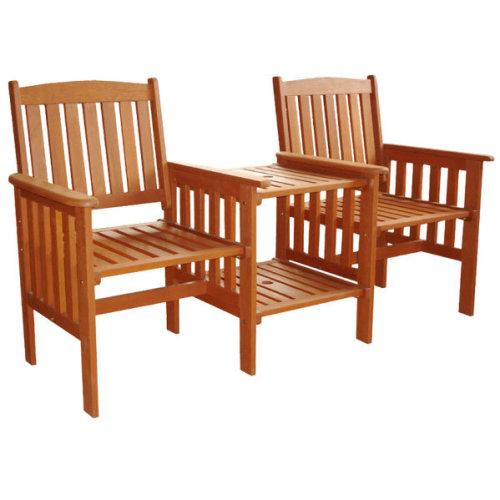 Kingfisher FSLOVE Tete-A-Tete Garden Seat | Hardwood Love Seat & Table