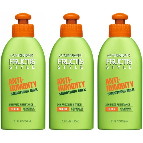 3pk Garnier Fructis Style Anti-Humidity Smoothing Milk - 3 x 150ml Bottles