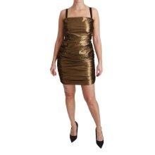 Nylon Bronze Bodycon Sheath Mini Dress