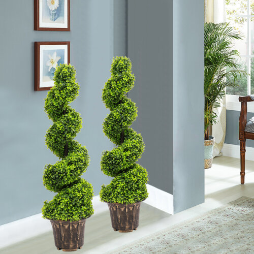 (3ft/90cm) 2X Large Artificial Spiral Boxwood Buxus Tower Plant Twist Topiary Potted Tree