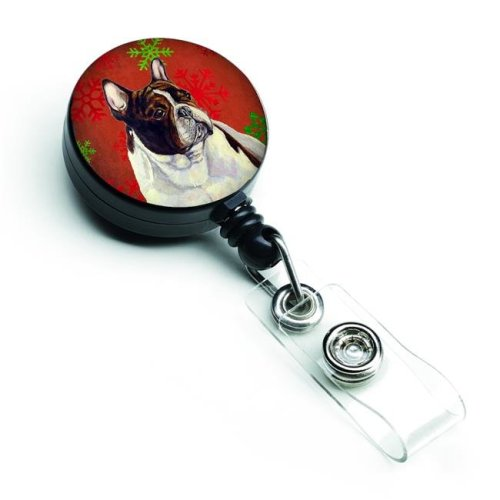 French Bulldog Red & Green Snowflakes Holiday Christmas Retractable Badge Reel