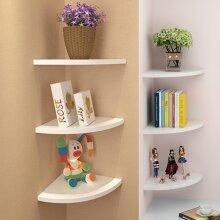 3pcs  Floating White Corner Shelf Shelves Wooden Wall Storage Bedroom