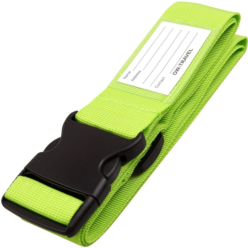 (Green: 1 Pack) OW-Travel Easy to Spot Personalised Luggage Straps for Suitcases. Sturdy Suitcase Straps. Strap for luggage Strap for Suitcase