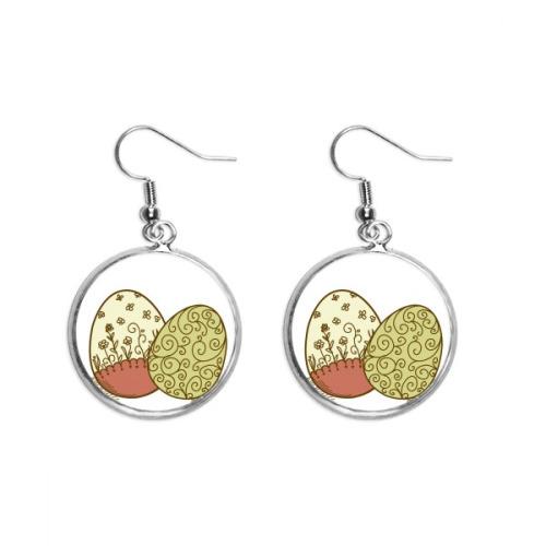Easter Religion Festival Flower Egg Ear Dangle Silver Drop Earring Jewelry Woman