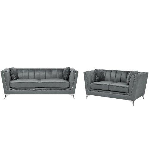 Velvet Living Room Set Grey GAULA