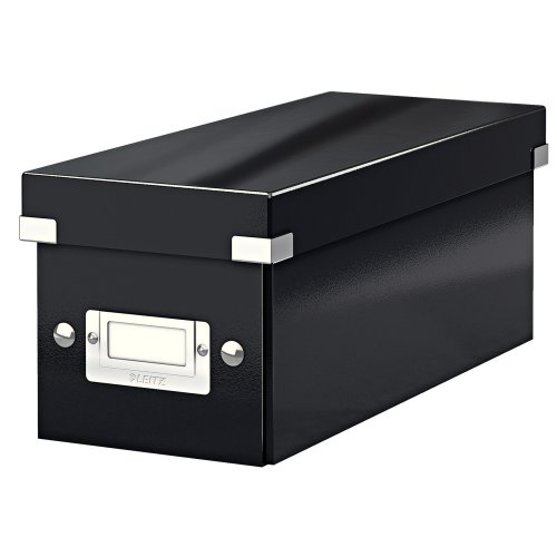 Leitz CD Storage Box, Black, Click and Store Range,holds 30 standard jewel cases