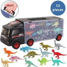deAO 12 Pieces Dinosaur Transporter Truck Carrycase for Cars Play Set Carrier Including Miniature T-Rex, Triceratops, Raptor, Figures Included