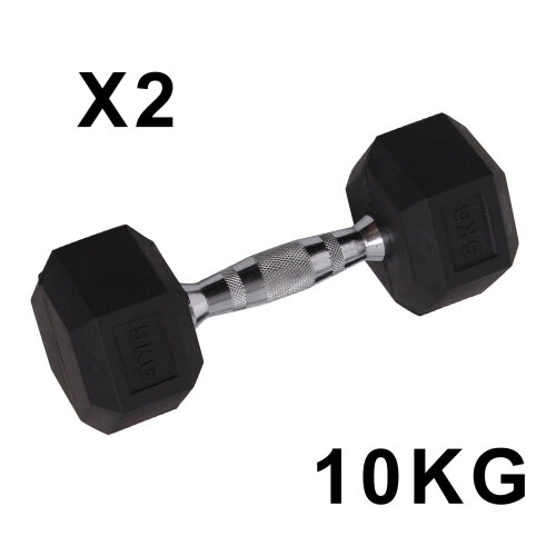 (2*10kg) Rubber Encased Dumbbell Hex Weights Gym Lifting