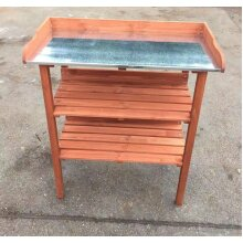 Wooden Greenhouse potting bench table - 3 Tier with shelves