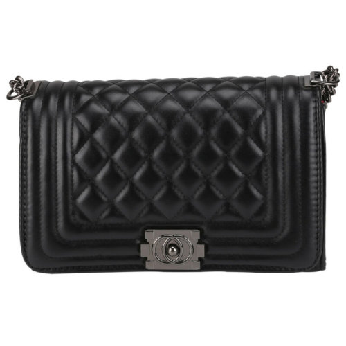 Women's Black Faux Leather Quilted Handbag