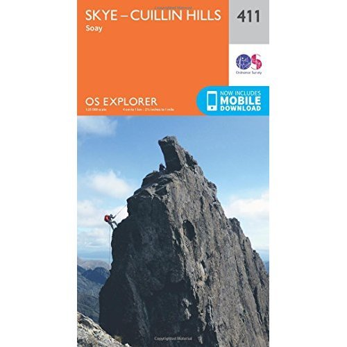 OS Explorer Map (411) Skye - Cuillin Hills - Soay (OS Explorer Active Map)