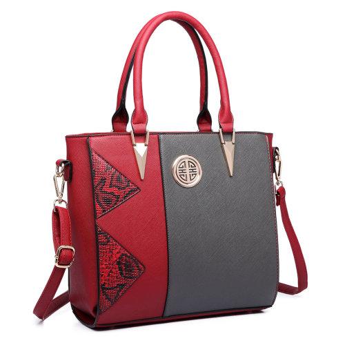 (Red) Miss Lulu Women Snake Print Shoulder Handbag Tote Bag