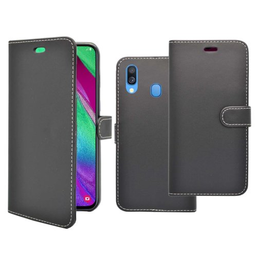 Case For Samsung Galaxy A40 Black Wallet Flip PU Leather Pouch Cover