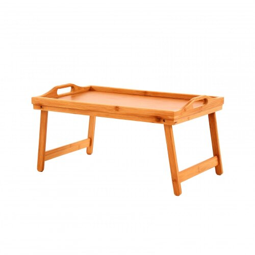 Oypla Folding Wooden Bamboo Breakfast in Bed Lap Tray with White Top