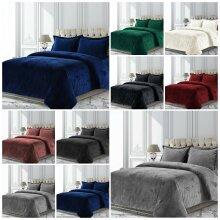Crushed Velvet Quilt Duvet Cover Set Double King Super King Size Bedding