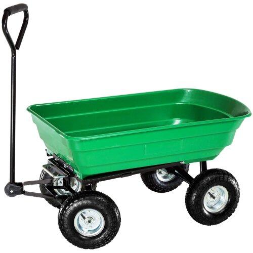 Oypla Heavy Duty Green Garden Cart with Tipping Barrow Trolley