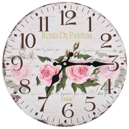 vidaXL Vintage Wall Clock Flower 30cm Home Office Living Room Analog Timer