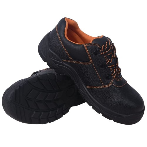 vidaXL Safety Shoes Black Size 7.5 Leather Men Protective Work Boots Footwear