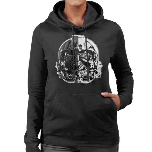 Original Stormtrooper Imperial TIE Pilot Helmet Monochrome Effect Women's Hooded Sweatshirt