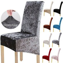 Crushed Velvet Stretchable Dining Chair Covers