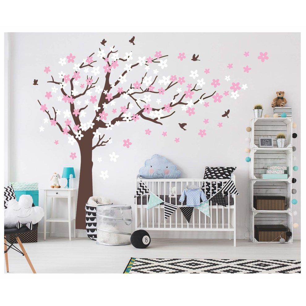 BDECOLL Tree Branch Wall Decal with Birds Wall Decals Vinyl Sticker Nursery Living Room Wall Sticks Black