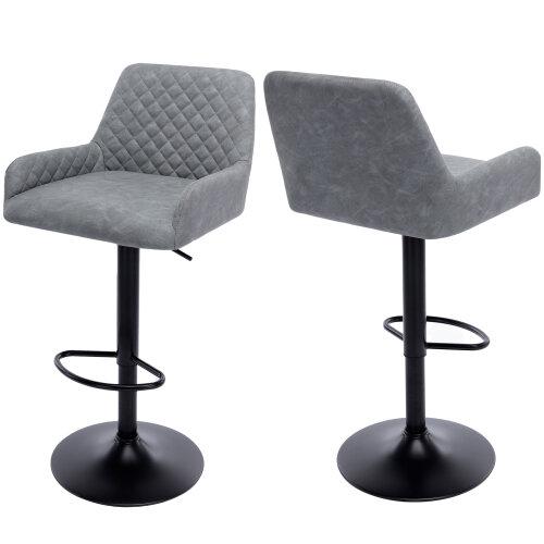 (Grey/PU) Bar Stools Grey Velvet Bar Chairs Breakfast Dining Stools for Kitchen Island Counter Bar Stools Set of 2 pcs Adjustable Height Swivel