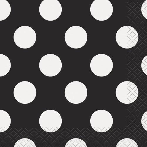 "Unique Party  30420  - 5"" Black Polka Dot Paper Napkins, Pack of 16"