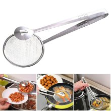 Stainless Steel Food Oil-Frying Filter Spoon with Clip Strainer Skimmer Multi Use