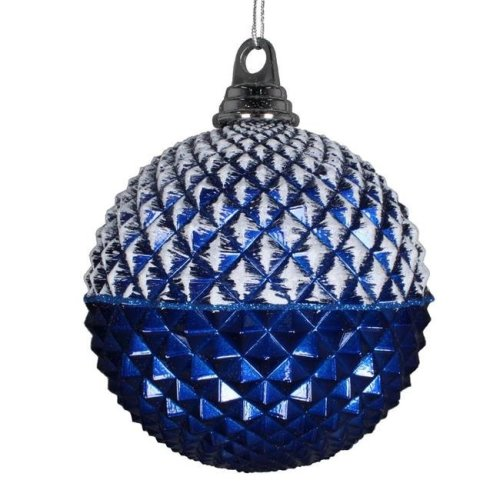 Vickerman MT180102 5 in. Blue Glitter Candy Durian Ball Ornament, 3 per Bag - Pack of 8