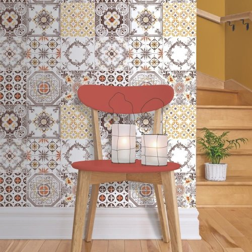 NEW MURIVA TILE PATTERN RETRO FLORAL KITCHEN BATHROOM VINYL WALLPAPER J95605