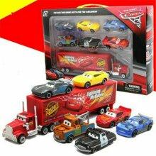 7PCS/Set Cars 2 Lightning McQueen Racer Car&Mack Truck Kids Toy