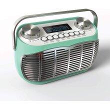 DETROIT DAB Radio Alarm Clock Bedside Mains Powered Or Battery DAB/DAB+/FM Retro Radio With LCD Display Clock Radio (Green)