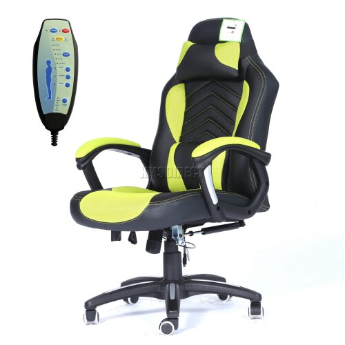 (Green Black) WestWood Heated Massage Office Chair - Gaming & Computer Recliner Swivel MC09