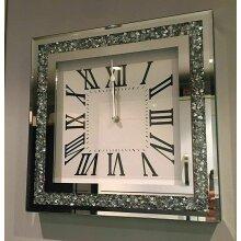CLOCK Diamante Wall Mount Crystal Crushed Diamond Mirror Jewel Roman Wall Clock