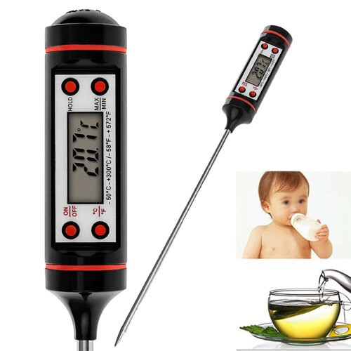 Digital Food Thermometer Probe BBQ Cooking Meat Temperature Kitchen Black