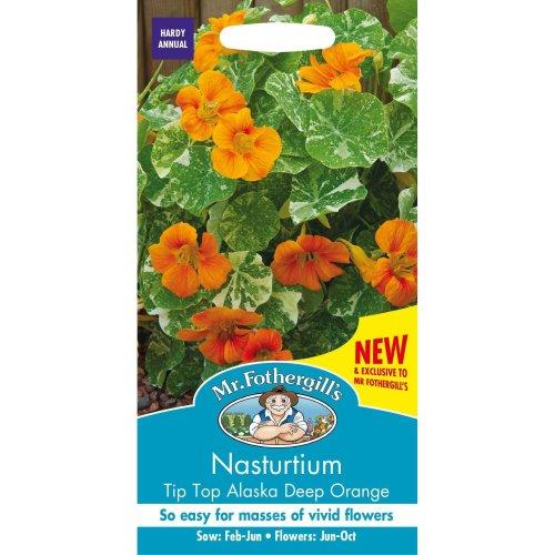 Mr Fothergills - Pictorial Packet - Flower - Nasturtium Tip Top Alaska Deep Orange - 25 Seeds