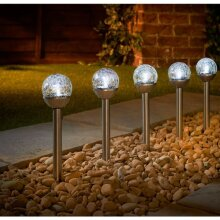 Solar Powered Eveready Crackle Ball Stakes Automatically Switch on at Dusk 5pk - White