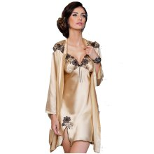 Irall Petra Champagne and Black Embroidery Satin Nightdress