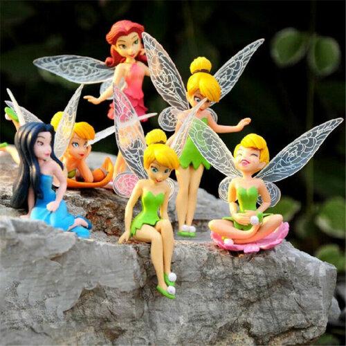 6Pcs Miniature Pixie Flower Fairy Figurine Dollhouse Garden Decor