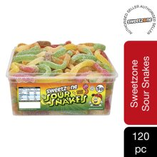 Sweetzone Sour Snakes Jelly Sweets Tub HMC Approved 100% Halal, 120 Pieces
