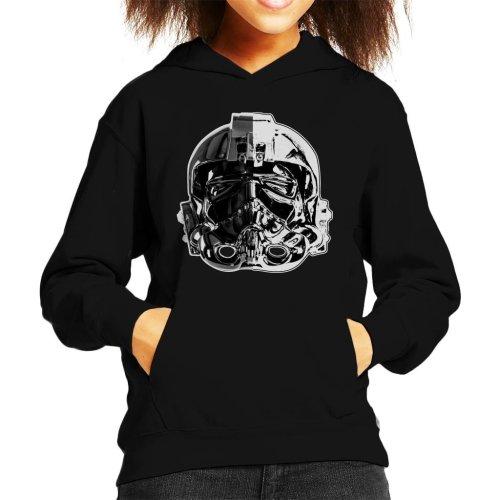 Original Stormtrooper Imperial TIE Pilot Helmet Monochrome Effect Kid's Hooded Sweatshirt