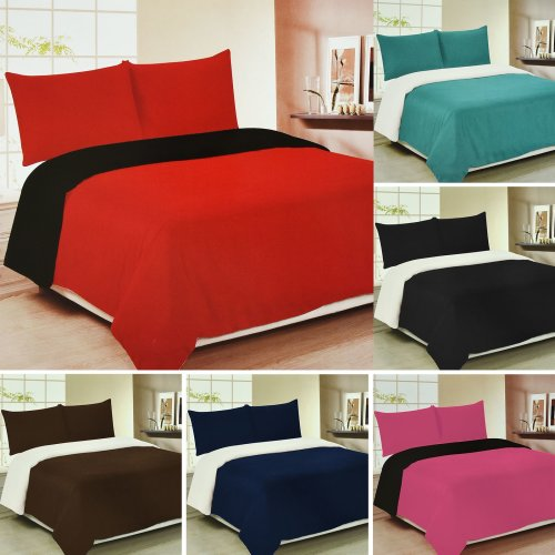 Luxury Plain Colour Reversible Duvet Set Pillow Cases Fitted Sheet Home Bedroom