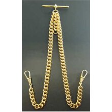 Stunning Double Albert Gold Plated 9ct Pocket Watch Chain Heavy